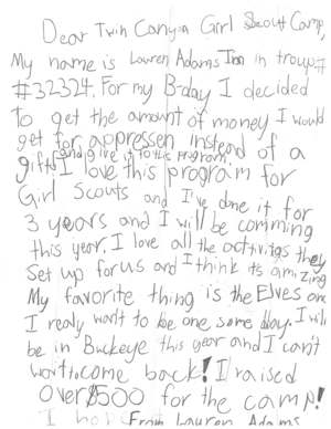 lauren asked for money to donate to camp twin canyon in lieu of birthday gifts and she cant wait for summer camp and someday being an older girl elf